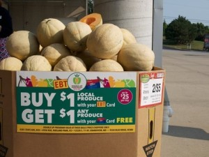 Kansas City supermarkets are testing a program that doubles low-income shoppers spending on local produce. Photo by Patty Cantrell.