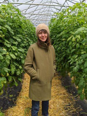 Molly Riordan in greenhouse